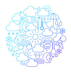 weather line icon circle design vector image