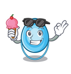 with ice cream oxygen mask character cartoon vector image