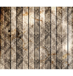 Wooden Background with Floral Pattern vector