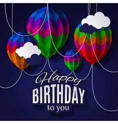 Birthday card with balloons in the style of folded vector image