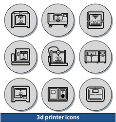 light 3d printer icons vector image