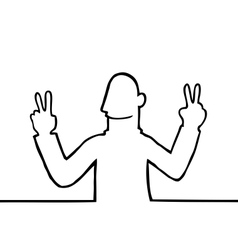 Man showing peace sign vector image vector image