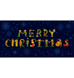 Merry Christmas lettering with elves vector image