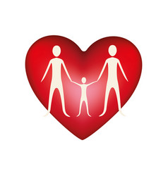 family together inside heart vector image
