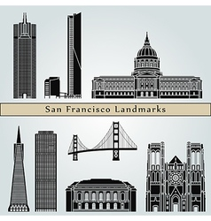 San Francisco landmarks and monuments vector image vector image