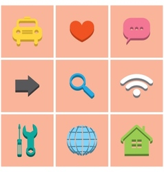 colored icons set 1 vector image vector image