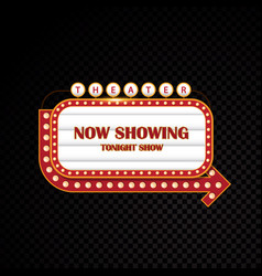 gold brightly theater glowing retro cinema neon vector image vector image