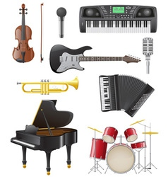 set musical instruments 01 vector image