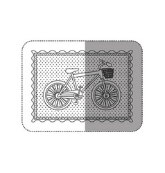 sticker contour frame of bicycle with background vector image vector image