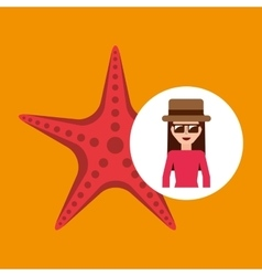 toursit female hat sunglasses starfish vector image