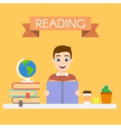 young handsome man reading a book vector image