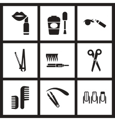 Concept flat icons in black and white cosmetics vector