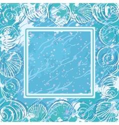Contour marine seashells and frame vector image