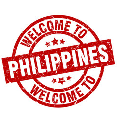 welcome to philippines red stamp vector image vector image