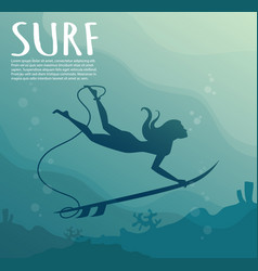 young girl - surfer with surf board dive vector image vector image