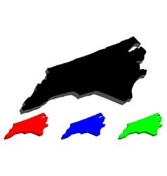 3d map of north carolina vector image