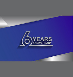 6 years anniversary silver color line style vector