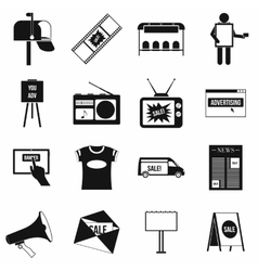 Advertisement icons setsimple style vector image vector image