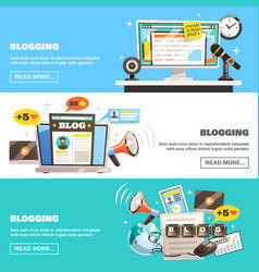 blogging horizontal banners set vector image