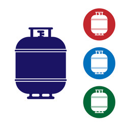 Blue propane gas tank icon isolated on white vector