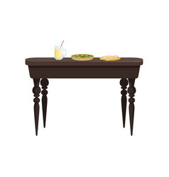 Brown wooden table with delicious food vector