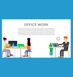 business office working cartoon characters man and vector image