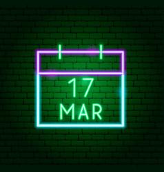 Calendar 17 march neon sign vector
