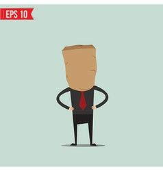 Cartoon business man with paper bag vector