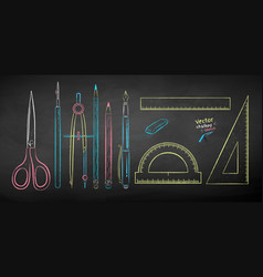Chalk drawn collection drafting tools vector