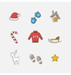 Christmas set icons vector