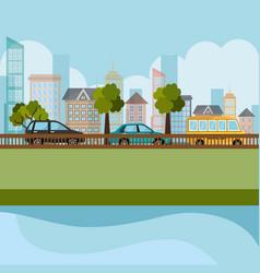 cityscape and road scene vector image