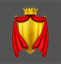 Coat arms with golden monarch crown and shield vector