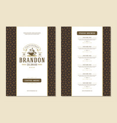 coffee menu template design flyer for cafe with vector image