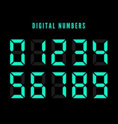 Color digital numbers set digital number font vector