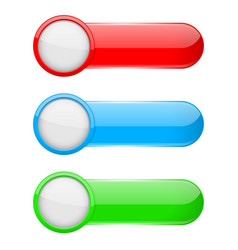 colored oval buttons with white circles 3d glass vector image