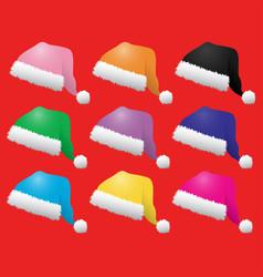 Coloured santa hats vector
