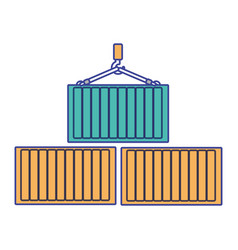 Container and crane design vector