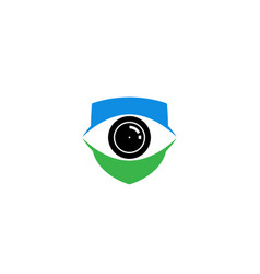 creative blue shield eye vision logo design symbol vector image