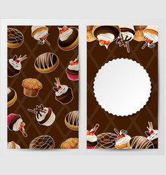 Cupcakes stickers background vector