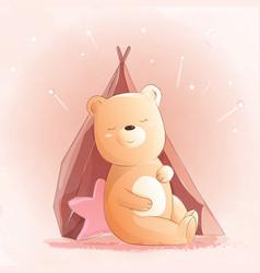 cute babear watercolor style vector image