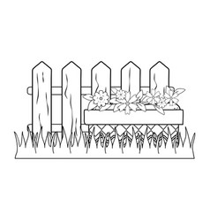 cute flowers and leafs in pot garden with fence vector image