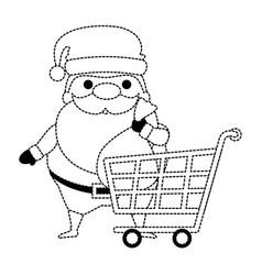 cute santa claus with shopping cart kawaii vector image