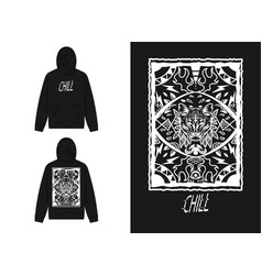 Dark cat and chill hoodie mockup vector