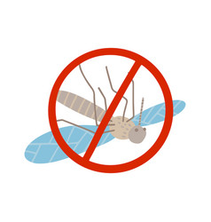 dead mosquito in spot red sign gnat and pest flat vector image