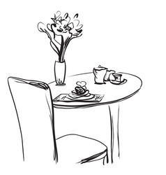 Dining table with coffee hand drawn sketch vector