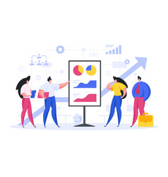 Entrepreneurs showing graphs to investors flat vector