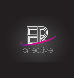 er e r letter logo with lines design and purple vector image