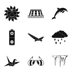 Eternal summer icons set simple style vector