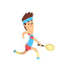 Funny guy with racket in hand running forward to vector
