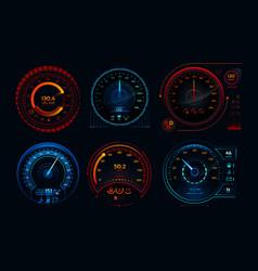 futuristic car speedometer speed hud kilometer vector image